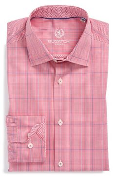 Men's Big & Tall Bugatchi Trim Fit Plaid Dress Shirt
