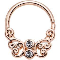 Clear CZ Gem Rose Gold Plated Brass Butterfly Seamless Septum Ring