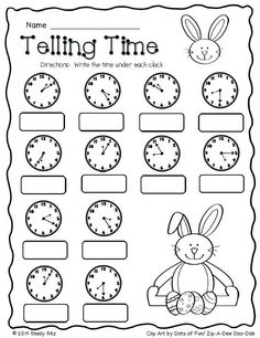 Easter Math--Telling time--FREE--Second grade Math--2.MD.7--tell and write time to the nearest five minutes