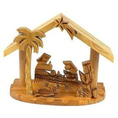 Olive Wood Small Beams Nativity Handmade and Fair Trade. This traditional olive wood nativity is handmade in Bethlehem. With fixed figures, this piece is inches tall by 4 inches wide and 2 inch… Christmas Crafts For Kids, Christmas Fun, Holiday Crafts, Christmas Decorations, Holiday Decor, Christmas Ornaments, Nativity Silhouette, Nativity Crafts, Nativity Sets