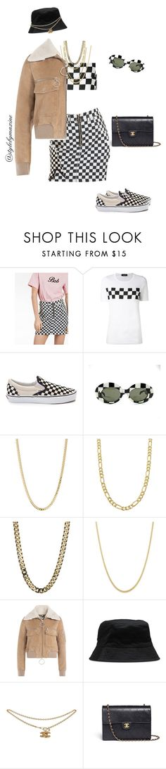 """""""checkered babe"""" by stylebymaxine ❤ liked on Polyvore featuring Dsquared2, Vans, Bianca Pratt, Fremada, Off-White, Dr. Martens and Chanel"""