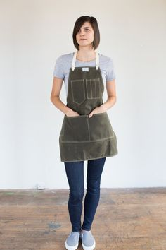 Womens Olive Waxed Canvas Artisan Apron