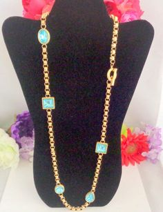 True Givenchy Circa 1980 Bijoux Jewelry at its best.  This is a stunning and bold necklace by Givenchy. Icy Blue Crystals in Stations on a 30 inch necklace with Toggle Clasp. New Listing. Free Shipping to the United States.  CCCsVintageJewelry.com