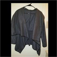 Grey and black flow sweater size s NWOT Grey and black flow sweater with leather trim. Can be dressed up or dressed down. Sweaters