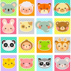 Ambesonne Baby Toddlers Room Decor Collection, Zoo Animal Faces Print on Polka Dot Background Cartoon Style Manga, Window Treatments for Kids Bedroom Curtain 2 Panels Set, Inches, White Teal Kids Vector, Vector Art, Vector Stock, Cartoon Styles, Cute Cartoon, Mode Country, Toddler Room Decor, Kawaii Faces, Polka Dot Background