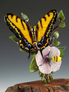 Tiger Swallowtail Butterfly & Bee, glass by Kim Fields