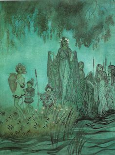 Sabrina rises - an illustration for Comus by Arthur Rackham.  A scan by me from Arthur Rackham - A Life In Illustration by James Hamilton.
