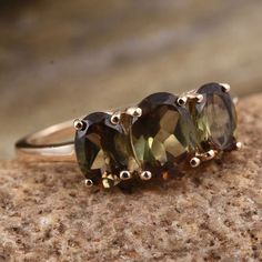 9K Y Gold Jenipapo Andalusite (Ovl 1.00 Ct) 3 Stone Ring 2.500 Ct.