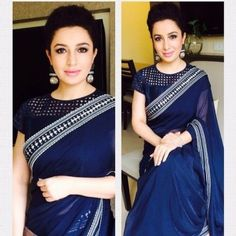Blue saree with high neck cut work blouse