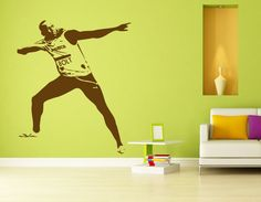USAIN BOLT JAMAICA RUNNER WALL ART STICKER DECAL FOR HOME WALL AND