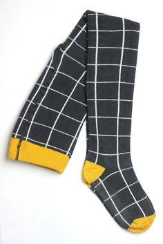 Motoreta Dark Grey & white Grid tights