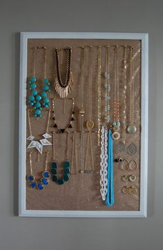 bulletin board jewelry storage..I do this and it definitely saves space