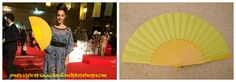 Oona Chaplin hand fan yellow pericon. Buy now at www.handfansbykatedengra.com - Hand Fans by Kate Dengra - A Trend is Unfolding
