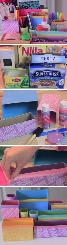 Colorful Desk Organizer | 17 DIY Dorm Room Organization Ideas