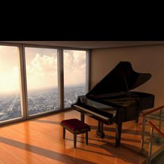 Piano room overlooking the city... Gorgeous. I must admit I'd be a little freaked out because of the floor to ceiling windows, being so high up.