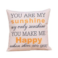 You are my Sunshine - Cotton Linen Throw Pillow Cover
