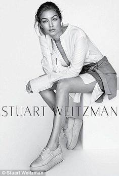 Gigi Hadid puts her long limbs on display in stunning Stuart Weitzman campaign - after posing stark naked for the brand with fellow models Lily Aldridge and Joan Smalls | Daily Mail Online