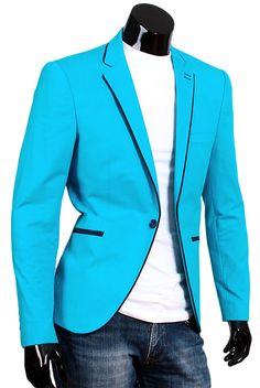 Купить Приталенный мужской пиджак цвета морской волны недорого в Москве
