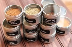 Use tins and chalkboard paint to organize your spices.
