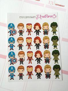 6 Avengers Stickers Avengers Marvel Super Hero by JLynnPaperCo