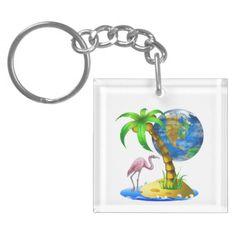 Flamingo Earth Key Chain Acrylic Key Chains