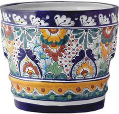#Handmade #ceramic #flower #pots come in small and large sizes. #RusticaHouse patterns makes these flower pots a #beautiful #piece of #art. Use it #indoors for #decorating a #livingroom or #foyer.#myRustica #Talavera #clay #accessories are great for #outdoor #flower planting in #gardens, #yards, #verandas or #balconies. These pots have been #handmade in #DoloresHidalgo. The #paint is #leadfree and its surface is glazed.