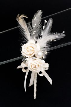 Roses and Pearls Boutonnière by Vintage Bridal Bouquets on Etsy, Broach Bouquet, Corsage And Boutonniere, Boutonnieres, Floral Wedding, Wedding Flowers, Vintage Bridal Bouquet, Corsage Wedding, Bride Bouquets, Wedding Favours