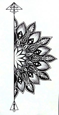 traditional mandala tattoo Best Picture For Tattoo Pattern floral For Your Taste You are looking for something, and it is going to tell you exactly what you are looking for, and you did Doodle Art Drawing, Cool Art Drawings, Pencil Art Drawings, Art Drawings Sketches, Tattoo Drawings, Tattoo Sketches, Zen Doodle, Easy Mandala Drawing, Easy Drawings