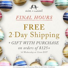 Shipping Cutoff Launch - There's still time to get perfect gifts! FREE 2-Day Shipping on $125+ orders thru Dec 21st 11am EST!