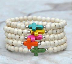 Cross Bracelets / Cross Beaded Bracelets by BeadRustic on Etsy Cross Jewelry, Wire Jewelry, Boho Jewelry, Jewelry Crafts, Beaded Jewelry, Jewelery, Jewelry Bracelets, Cross Bracelets, Jewelry Design