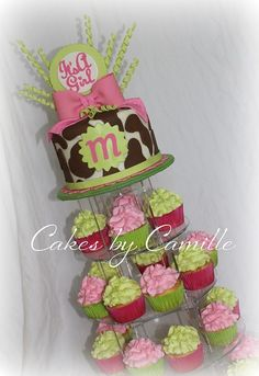 pink, green, and brown girl baby shower theme