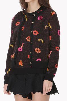 Lip heart pattern knit cardigan
