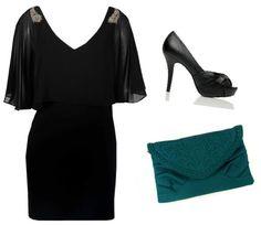 Siyah elbise ve ayakkabı ikilisine, petrol yeşili clutch çantayla alışılmışın dışında bir dokunuş ekleyin.