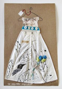 Collage and stitch on paper, Garden Dress