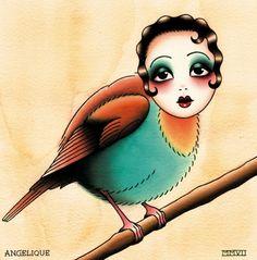 old school woman/bird tattoo