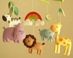 Making an mobile for my baby Baby crib mobile safari by Feltnjoy