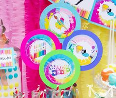 Art Party Rainbow Party  4inch PRINTABLE THEMED by CutiePutti, $5.50