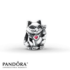 Pandora Charm Lucky Cat Red Enamel Sterling Silver