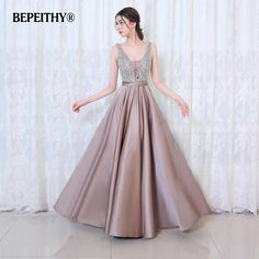 BEPEITHY V-Neck Beads Bodice Open Back A Line Long Evening Dress Party  Elegant Vestido De Festa Fast Shipping Prom Gowns 020890655be7