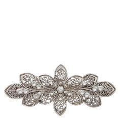 Hair Jewelry Acessories Silver Floral Filigree Hair Clip - Accent your hairdo with this fancy filigree hair clip. The silver clip has a lovely floral design accented with small clear rhinestones. Floral design French Barrette clip back 3 I Love Jewelry, Hair Jewelry, Jewelry Design, Women Jewelry, Short Hair Accessories, Bridal Accessories, Gem Hair, Barrettes, Bridal Hair Pins