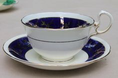 Aynsley English bone china teacups & saucers w/ colored bands, 6 vintage tea cup sets