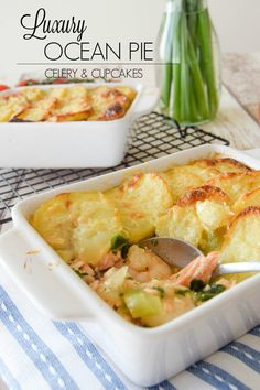 A jam-packed rich filling of salmon, prawns, lobster and kale flavoured with saffron and topped with baked potato slices with a delicious cheesy crust. This definitely isn't just an average fish pie, it's been royally pimped up!  Luxury Ocean Pie - Celery and Cupcakes