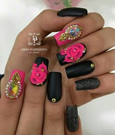 Amor a las uñas. Glow Nails, 3d Nails, Cute Nails, Acrylic Nail Designs, Nail Art Designs, Acrylic Nails, Fabulous Nails, Gorgeous Nails, Bling Nails