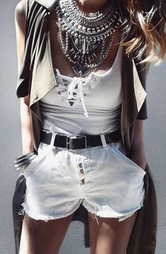 #summer #outfits  White Lace-up Top + White Denim Short
