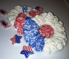 SCRUNCHIESRed White and Blue 3 Scrunchies Go USA by grammalea, $4.00