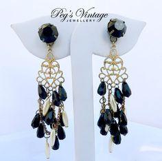 Vintage Gold Filigree Chandelier Earrings/ by PegsVintageJewellery