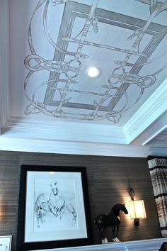Amazing Hermes inspired hand painted ceiling in Patrick Lönn's study at the Traditional Home Hampton Designer Showhouse
