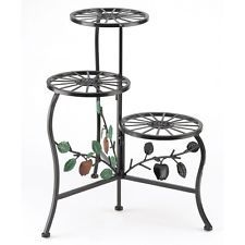 Plant Stand Shelf Flower Pot Gifts Decor Patio Metal Wrought Iron Holder Tier 3