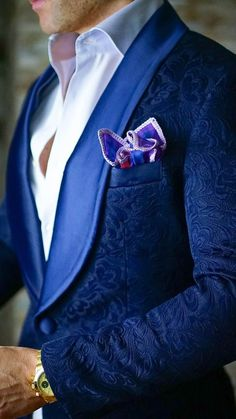 Broke the Internet 2018 Fashion Wedding Suits Blue Slim-Fit Designer Paisley Jacket Satin Shawl Collar