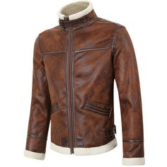 Mens Thick Fleece Casual Stand Collar Brown Motorcycle Jacket Fashion PU Leather Biker Coat - Banggood Mobile
